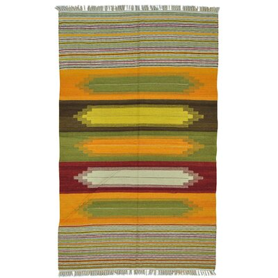 Durie Kilim Flat Weave Oriental Hand-Knotted Yellow/Red Area Rug