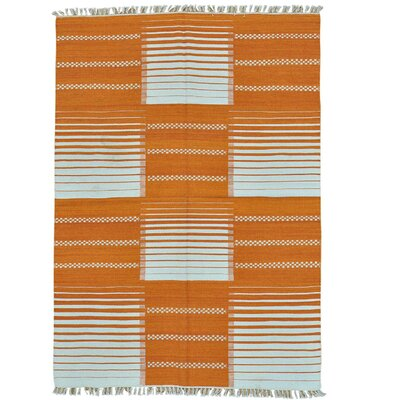Reversible Durie Kilim Flat Weave Hand-Knotted Orange Area Rug