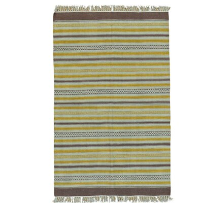 Flat Weave Reversible Durie Kilim Striped Hand-Knotted Purple/Yellow Area Rug