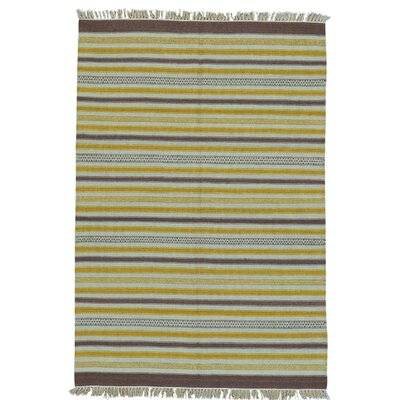 Durie Kilim Striped Flat Weave Reversible Oriental Hand-Knotted Purple/Yellow Area Rug