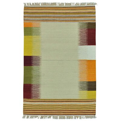 Flat Weave Durie Kilim Hand-Knotted Ivory Area Rug
