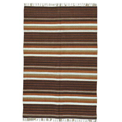 Flat Weave Striped Durie Kilim Hand-Knotted Brown/White Area Rug