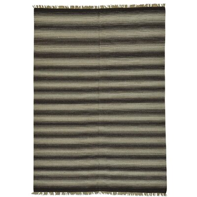Striped Durie Kilim Flat Weave Reversible Hand-Knotted Brown/Beige Area Rug