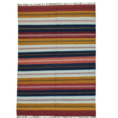 Striped Kilim Flat Weave Hand-Knotted Blue/Yellow Area Rug