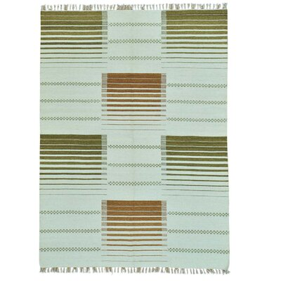 Reversible Striped Durie Kilim Hand-Knotted Ivory Area Rug
