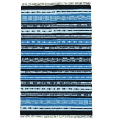 Flat Weave Durie Kilim Striped Oriental Hand-Knotted Blue/Black Area Rug