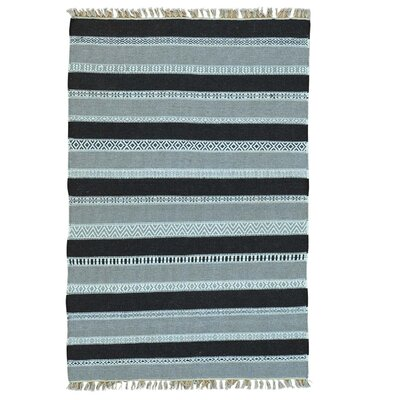 Durie Kilim Striped Flat Weave Oriental Hand-Knotted Blue/Gray Area Rug