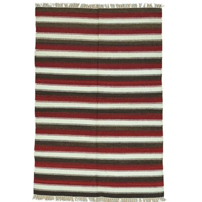Reversible Striped Durie Kilim Oriental Hand-Knotted Black/Maroon Area Rug