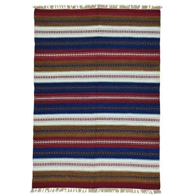 Flat Weave Striped Kilim Reversible Oriental Hand-Knotted Blue/Pink Area Rug