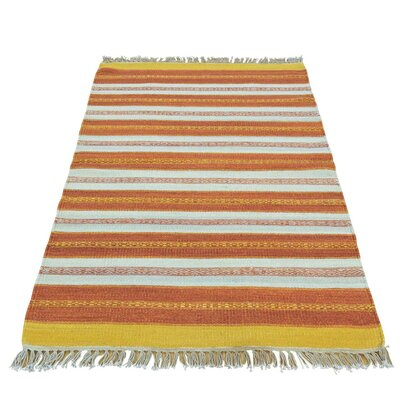 Durie Kilim Striped Oriental Hand-Knotted Orange/Yellow Area Rug