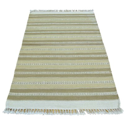 Striped Flat Weave Durie Kilim Oriental Hand-Knotted Beige Area Rug