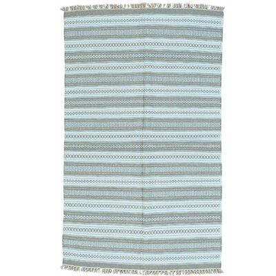 Flat Weave Striped Durie Kilim Hand-Knotted Ivory Area Rug