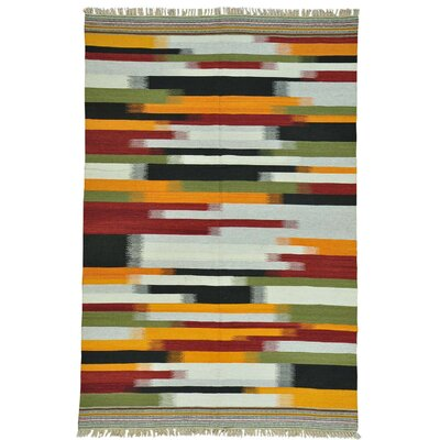 Durie Kilim Flat Weave Oriental Hand-Knotted Green/Yellow Area Rug