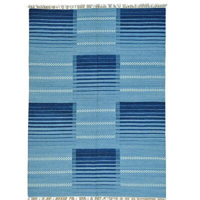 Flat Weave Reversible Durie Kilim Hand-Knotted Blue Area Rug