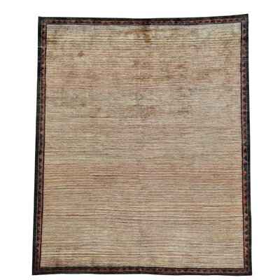 One-of-a-Kind Rossman Striped Modern Oriental Hand-Knotted Area Rug