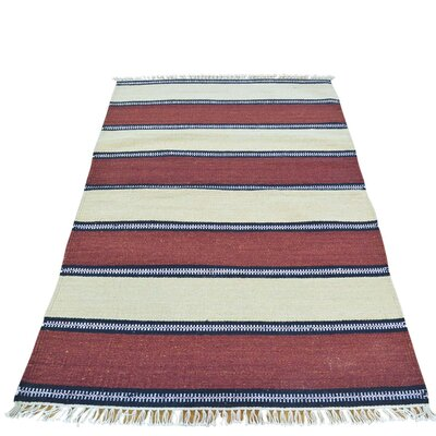 Striped Durie Kilim Flat Weave Hand-Knotted Blue/Maroon Area Rug