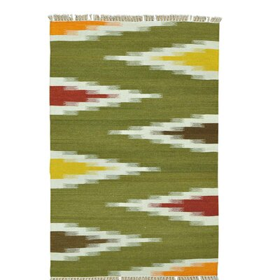 Flat Weave Durie Kilim Hand-Knotted Wool Light Green/Yellow Area Rug