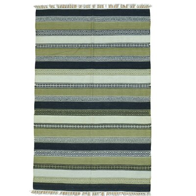 Striped Durie Kilim Flat Weave Hand-Knotted Wool Light Green/Blue Area Rug