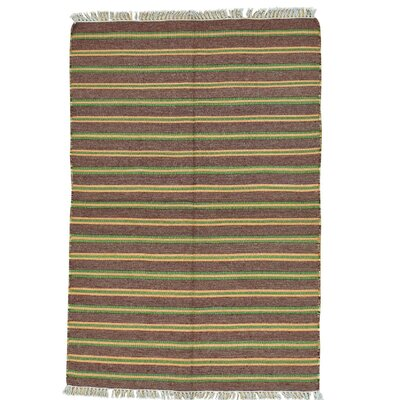 Striped Durie Kilim Flat Weave Oriental Hand-Knotted Wool Brown Area Rug