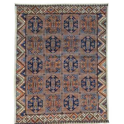 Afghan Ersari Block Oriental Hand-Knotted Wool Brown Area Rug