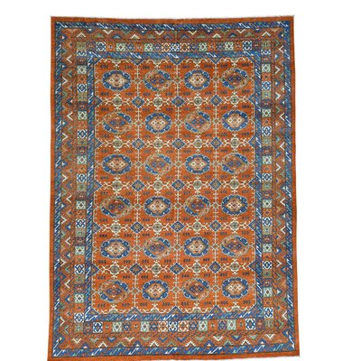 Afghan Ersari Oriental Hand-Knotted Wool Orange Area Rug