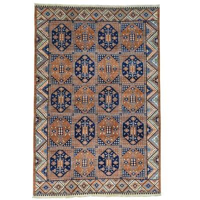 Garden Afghan Ersari Oriental Hand-Knotted Wool Brown Area Rug