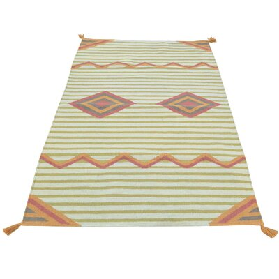 Flat Weave Reversible Southwest Hand-Knotted Wool Beige Area Rug
