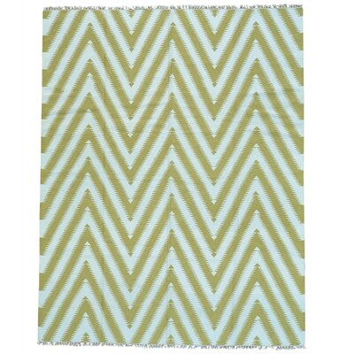 Zigzag Flat Weave Kilim Oriental Hand-Knotted Wool White/Light Green Area Rug