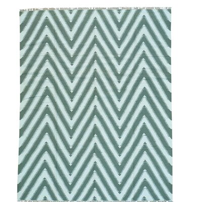 Zigzag Kilim Flat Weave Oriental Hand-Knotted Wool White/Aqua Area Rug