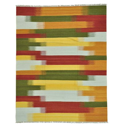 Durie Kilim Reversible Flat Weave Hand-Knotted Wool Orange/Yellow Area Rug