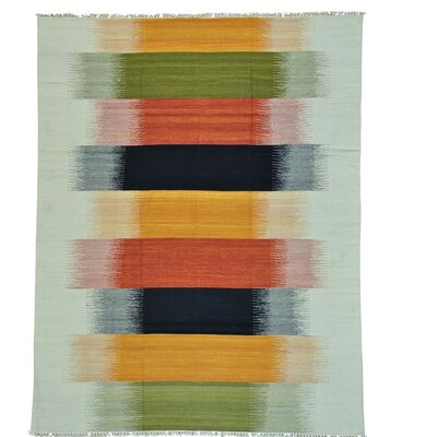 Flat Weave Reversible Durie Kilim Oriental Hand-Knotted Wool Orange/Yellow Area Rug