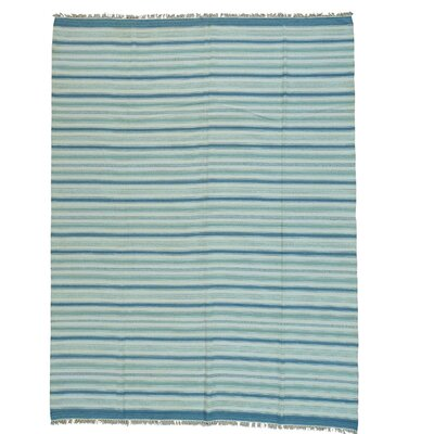 Striped Durie Kilim Flat Weave Oriental Hand-Knotted Wool Blue/Light Gray Area Rug