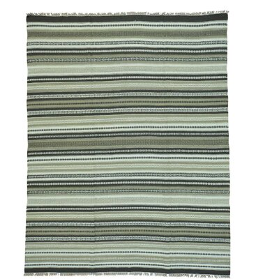 Striped Durie Kilim Flat Weave Oriental Hand-Knotted Wool Dark Blue/Off White Area Rug