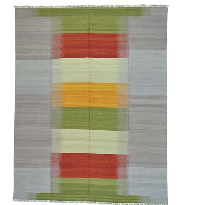 Durie Kilim Reversible Oriental Hand-Knotted Wool Green/Red Area Rug