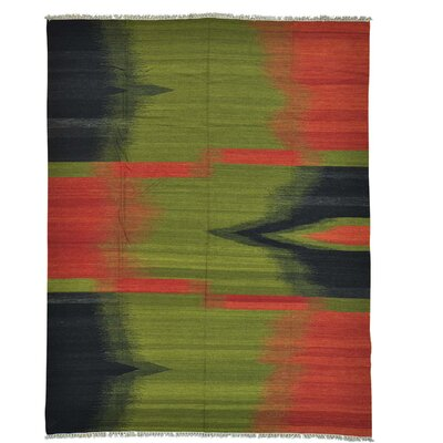 Durie Kilim Oriental Hand-Knotted Wool Green/Red Area Rug