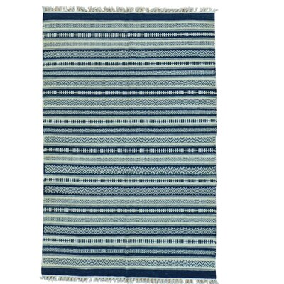Durie Kilim Flat Weave Striped Hand-Knotted Wool Blue Area Rug