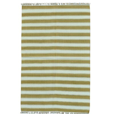 Striped Flat Weave Kilim Oriental Hand-Knotted Wool Brown Area Rug