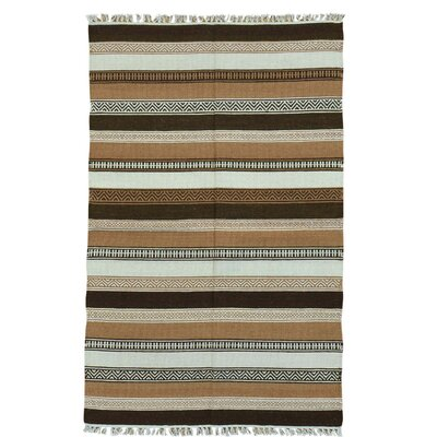 Striped Reversible Flat Weave Kilim Hand-Knotted Wool Dark Brown/Light Brown Area Rug