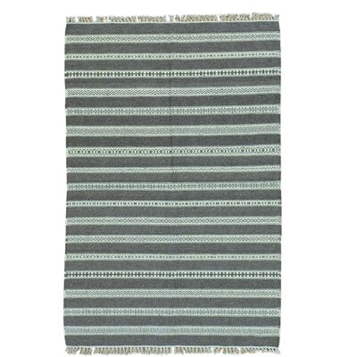 Reversible Flat Weave Kilim Striped Hand-Knotted Wool Gray Area Rug