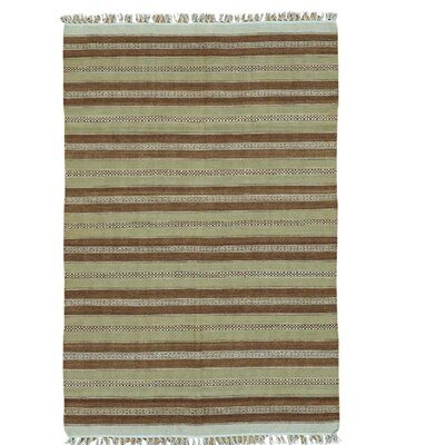 Reversible Flat Weave Durie Kilim Hand-Knotted Wool Light Brown/Olive Area Rug