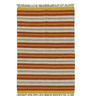 Flat Weave Reversible Durie Kilim Hand-Knotted Wool Yellow/Orange Area Rug