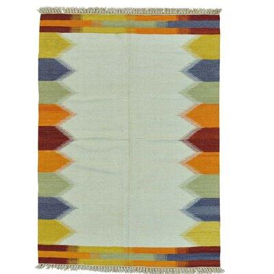 Flat Weave Anatolian Kilim Oriental Hand-Knotted Wool Ivory Area Rug