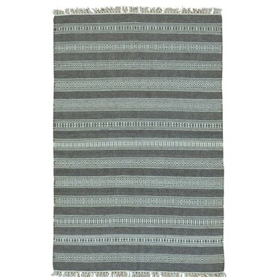 Flat Weave Striped Durie Kilim Hand-Knotted Wool Gray Area Rug