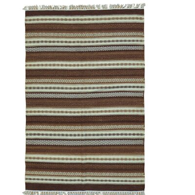 Striped Shades Of Brown Kilim Hand-Knotted Wool Beige/Brown Area Rug