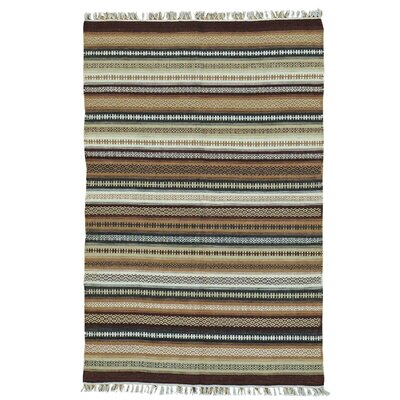 Reversible Flat Weave Durie Kilim Hand-Knotted Wool Beige/Brown Area Rug