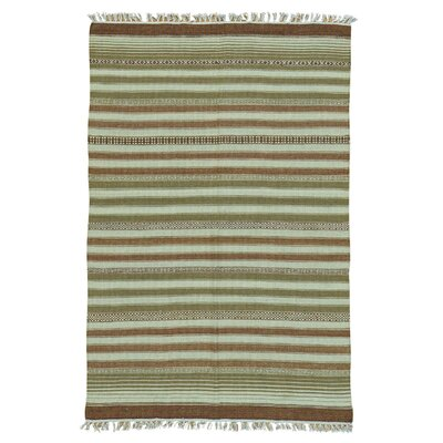 Reversible Flat Weave Striped Durie Kilim Oriental Hand-Knotted Wool Brown/Olive Area Rug