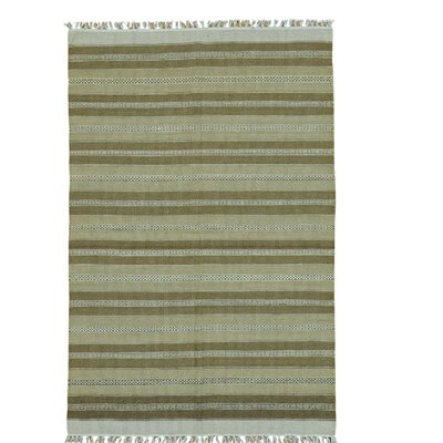 Reversible Flat Weave Striped Durie Kilim Hand-Knotted Wool Light Green/Olive Area Rug