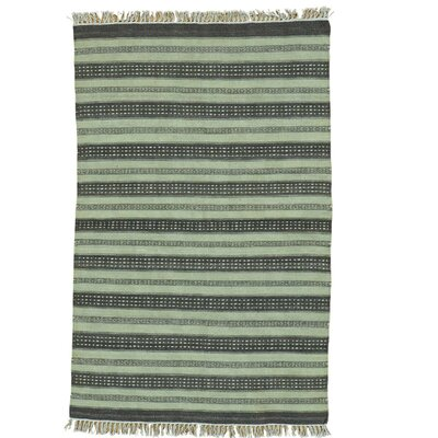 Reversible Flat Weave Striped Durie Kilim Hand-Knotted Wool Light Green/Gray Area Rug