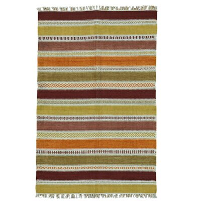 Flat Weave Striped Durie Kilim Hand-Knotted Wool Light Green/Rust Area Rug