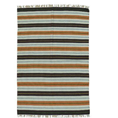Flat Weave Striped Durie Kilim Hand-Knotted Wool Blue/Brown Area Rug